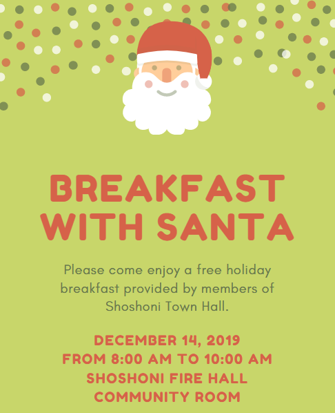 Free Breakfast with Santa December 14 2019 8-10 AM at Shoshoni Community Room