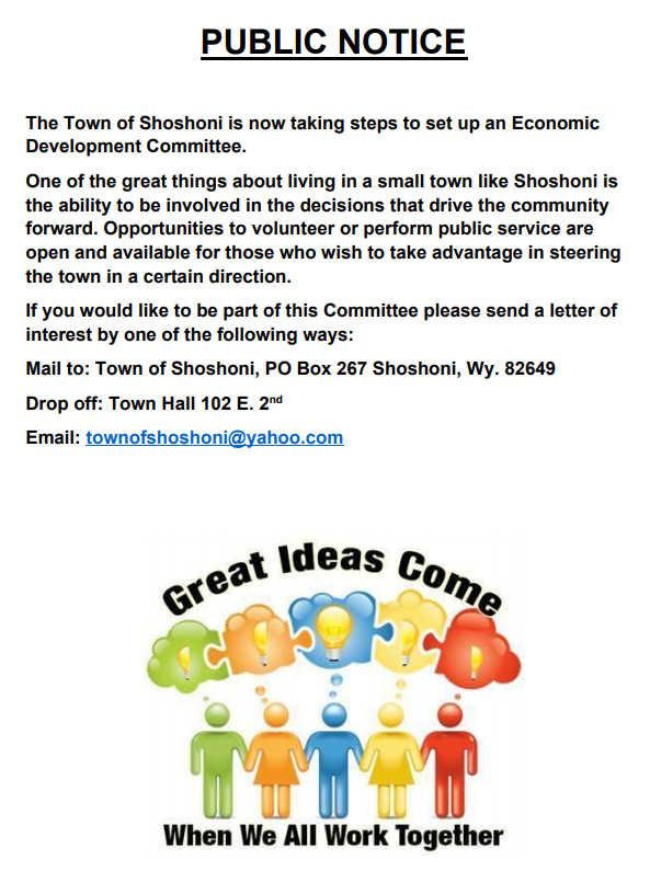 Economic Development Committee flyer. Contact Town Hall for More information